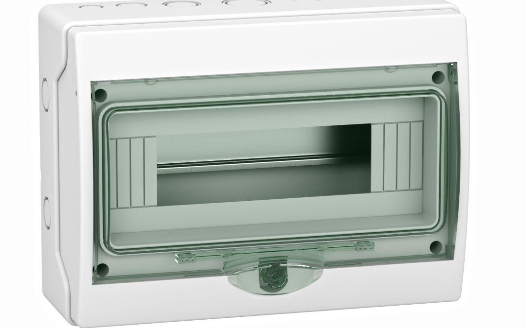 Cofret de superficie mini Kaedra – IP 65 – 1 x 12 módulos, puerta transparente