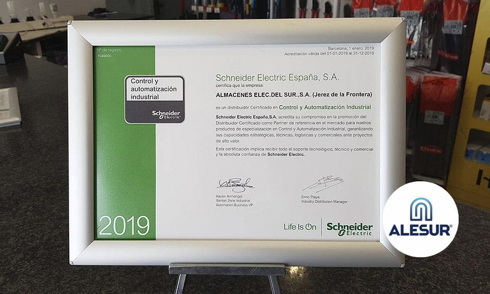Alesur se sitúa entre las primeras empresas andaluzas certificada en Automatización Industrial por Schneider